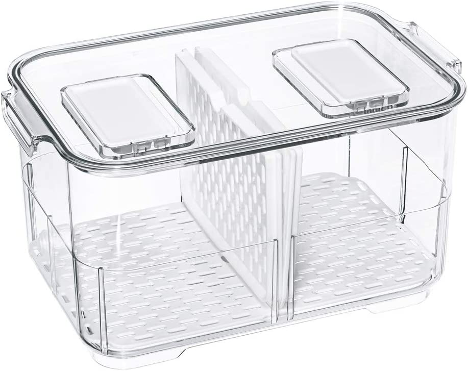 Fridge Food Storage Containers Produce Saver FreshWorks Produce Food Storage Container Bin Stackable Refrigerator Kitchen Organizer Keeper, with Removable Drain Tray to Keep Fresh