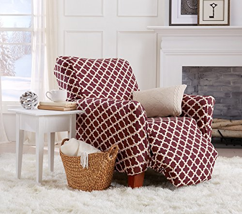 Home Fashion Designs Form Fit, Slip Resistant, Stylish Furniture Cover/Protector Featuring Lightweight Stretch Twill Fabric. Brenna Collection Basic Strapless Slipcover. By (Recliner, Burgundy) Burgundy Recliner