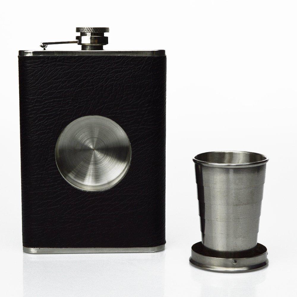 本物の (Black) - - Shot Flask - ブラック Stainless Steel (Black) 240ml Hip Flask, Built-in Collapsible 60ml Shot Glass & Flask Funnel - Shots on the Go (Black) ブラック B077BCQ37H, マイティリカーズ:721c15b5 --- a0267596.xsph.ru