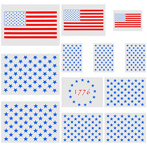 Biubee 12 Pack Star Stencil 50 Stars American Flag Template and 2 in 1 USA Flag Stencil, 13 Star 1776 Stencil for Painting on Wood, Walls, Fabric and Paper (3 Styles)