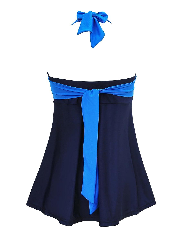 c7a2be20cd5c0 Womens Sporty Boyleg Swimdress Plus Size Vintage Halter One Piece Swimsuit  Long Torso Skirted Bathing Suit at Amazon Women s Clothing store