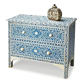 Vivienne Traditional Rectangular Bone Inlay Chest Blue