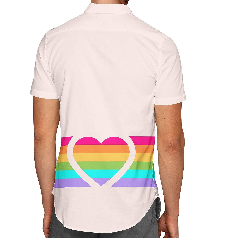 Rainbow Heart Mens Button Down Short Sleeve Shirt