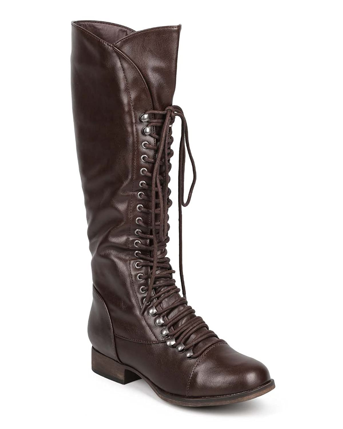 Georgia 75 Women Military Lace Up Knee High Combat Boots