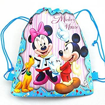 C N Kids Blue Pink Mickey Mouse Drawstring Backpack Purple Walt