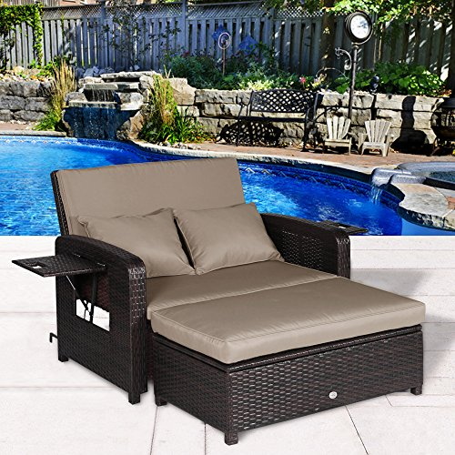 Cloud Mountain 2 Piece Patio Wicker Rattan Love Seat Sofa Daybed Set Outdoor Patio Love Seat Store Ottoman Garden Furniture Set Chaise Lounge, Khaki Cushions with Mix Brown Rattan