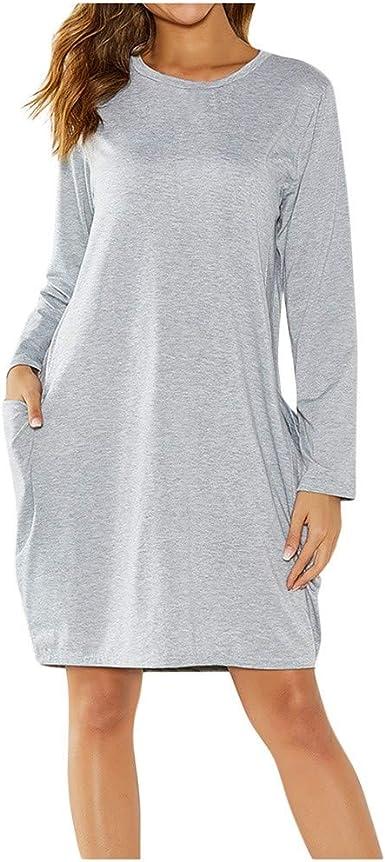 Geilisungren Vestidos Mujer Mujeres Casual Otoño Invierno Mangas Largo Vestido de Playa con Bolsillo T-Shirt Vestido Elegante Mini Dress: Amazon.es: Ropa y accesorios