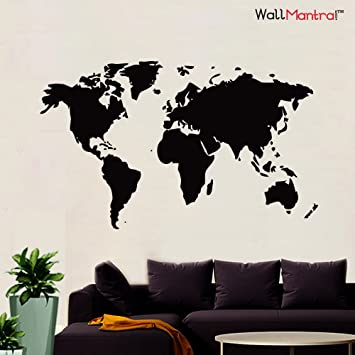 WallMantra World Map Wall Sticker Medium Size
