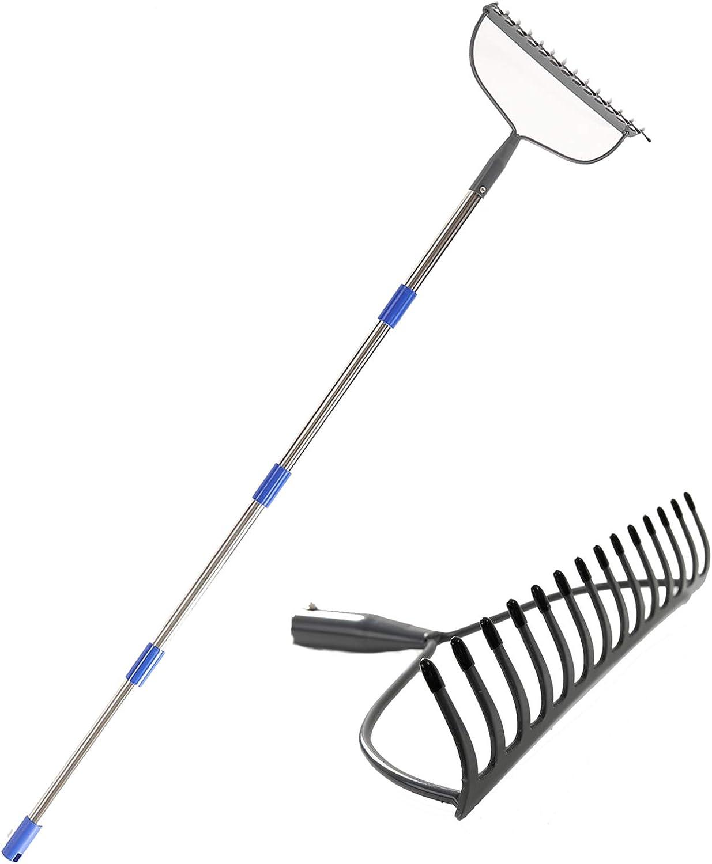 GLORYA Bow Rake - Heavy Duty Garden Rake with 5FT Stainless Steel Handle - Metal Rake for Gardening with 14 Tines