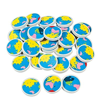 Fun Express Earth Erasers (4Dz) - 48 Pieces - Educational and Learning Activities for Kids: Toys & Games