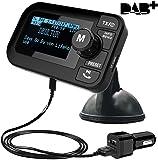 "FirstE Car DAB/DAB+ Radio Portable Bluetooth FM Transmitter 2.3"" Big LCD Car Kits Crystal Sound - Play Micro SD/TF Card(64G) +Handsfree Call+5V 2.1A/1.0A Dual USB Ports+ 3M Antenna+3.5mm Aux Output"