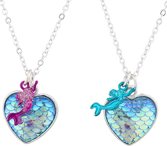 Gift Idea Mermaid Iridescent Blue Fish Scale Tail Pendant Chain Keyring