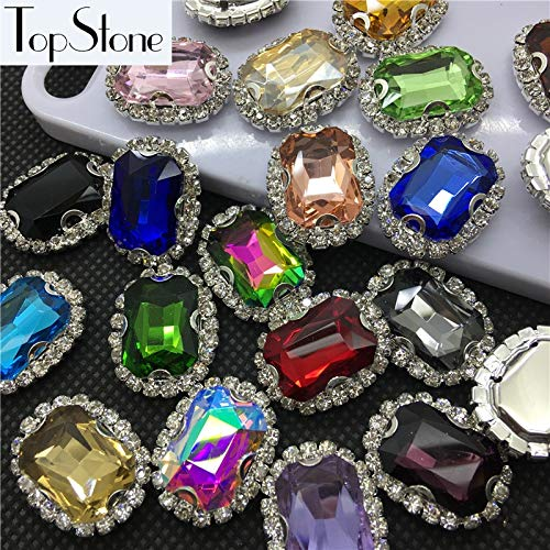 Pukido All Colors 15pcs 13x18mm Rectangle Shaped Stones in Handmade Crystal Rhinestones Silver Claw Settings Sew On Jewelry Crystals - (Item Diameter: 20 Crystal ab) ()