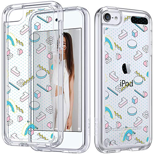(ULAK iPod Touch 7 Case, iPod 6 Case, iPod Touch 5 Clear Case, Slim Anti-Scratch Flexible Soft TPU Bumper Hybrid Shockproof Protective Case for Apple iPod Touch 5/6th/7th Generation, 3D Shapes)
