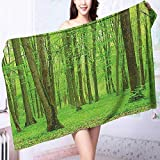 PRUNUS Microfiber Towels Decor Spring Forest in a Sunny Day Bright Fresh Light Colors Like a Multipurpose, Quick Drying