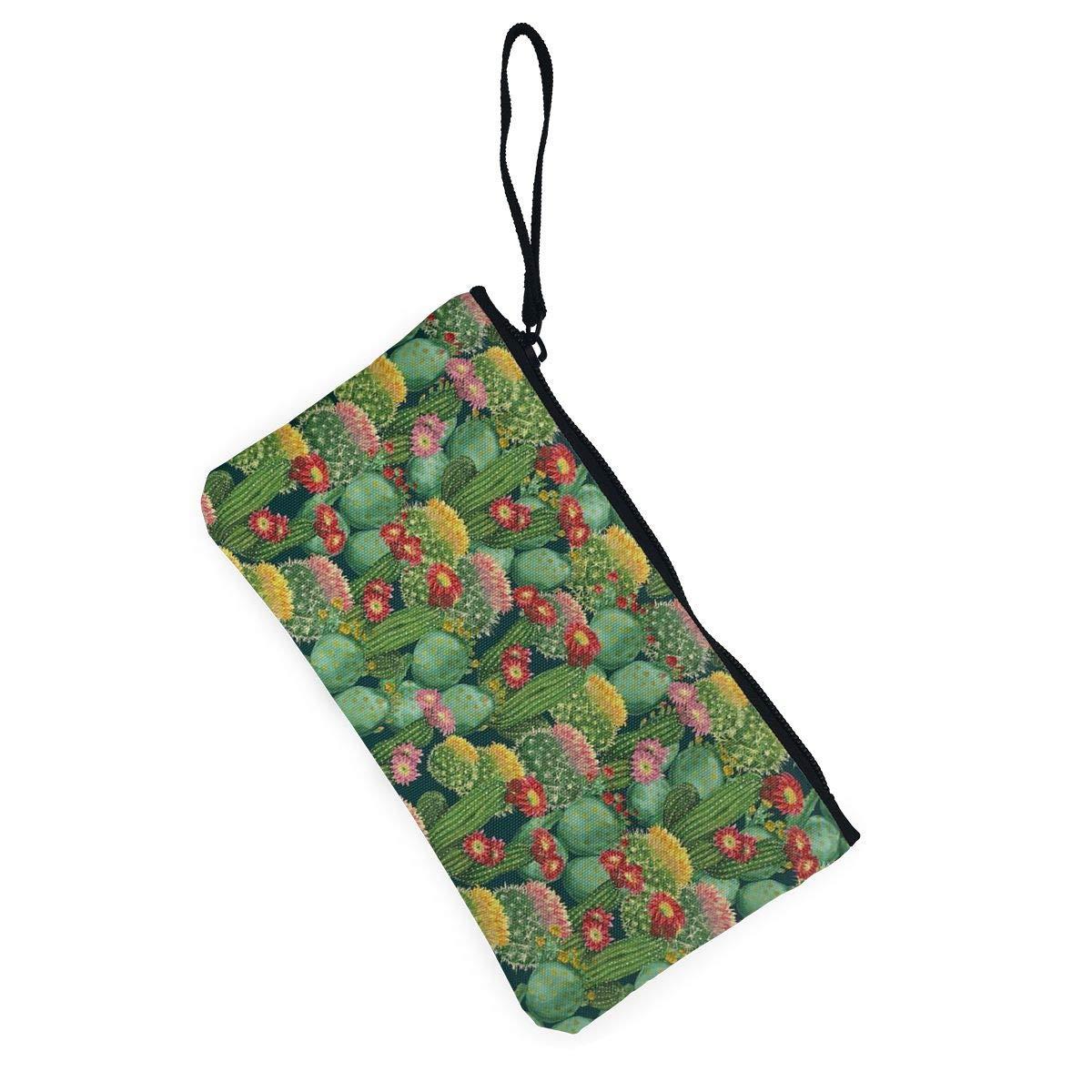 YUANSHAN Garden Cactus Flowers Unisex Canvas Coin Purse Change Cash Bag Zipper Small Purse Wallets with Handle