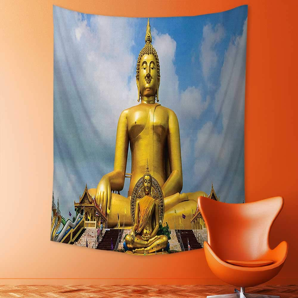 Tapestry Wall Hanging Decor The Biggest Golden Indian Statue at The Temple in Thai Oriental Sage Asian Home Hippie Bohemian Tapestry for Dorms