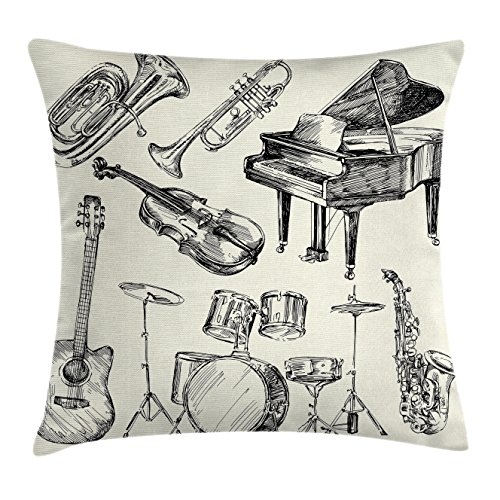 Ambesonne Jazz Music Decor Throw Pillow Cushion Cover, Musical Instruments Sketch Style Art with Trumpet Piano Guitar Artwork, Decorative Square Accent Pillow Case, 18 X 18 Inches, Beige Black