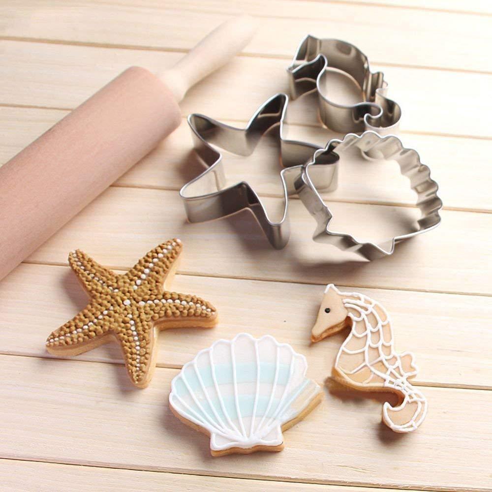 Octopus Set di 8 formine per biscotti a forma di coda di sirena//balena stella marina e conchiglia marina a forma di animale marino pesce pagliaccio delfino cavalluccio marino meduse
