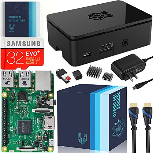 Raspberry Pi 3 Essentials Kit - On-Board WiFi and Bluetooth Connectivity ? 2.5A Power Supply - 32 GB Samsung Evo+