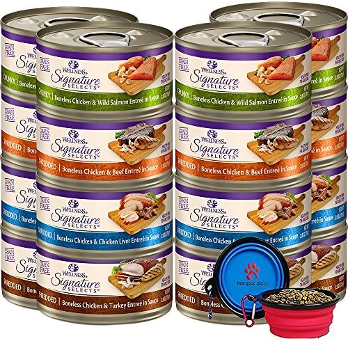 Wellness Signature Selects Canned Grain Free Wet Cat Food – Variety Bundle 4 Flavors Pack with HS Pet Food Bowl 12 Cans Chicken Beef, Chicken Liver, Chicken Salmon, Chicken Turkey 2.82oz