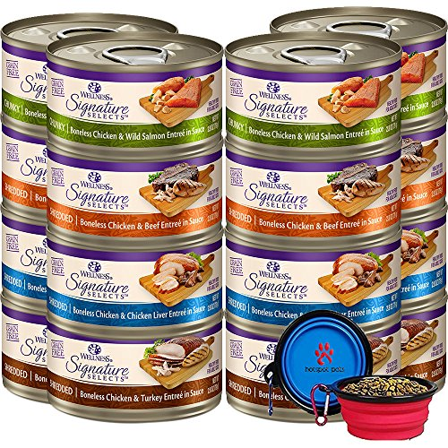 Wellness Signature Selects Canned Grain Free Wet Cat Food - Variety Bundle 4 Flavors Pack With HS Pet Food Bowl (12 Cans) (Chicken & Beef, Chicken & Liver, Chicken & Salmon, Chicken & Turkey)(2.82oz)