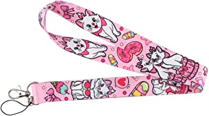 SuperSenter Premium Lanyard Marie The Aristocats with Food Cartoon Themed - Hook & Phone String - Keychains or ID Badge Holders