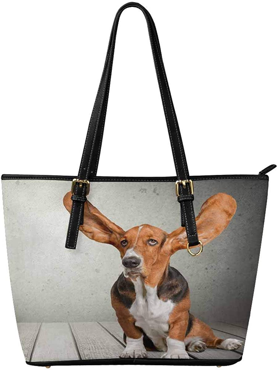 InterestPrint Women Totes Top Handle HandBags PU Leather Purse Funny Realistic Dog Puppy