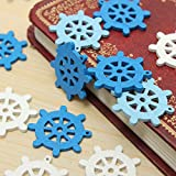 50pcs Wooden Mini Sea Boat Rudder Pendant Scrapbooking Home Decorations Handcraft Accessories