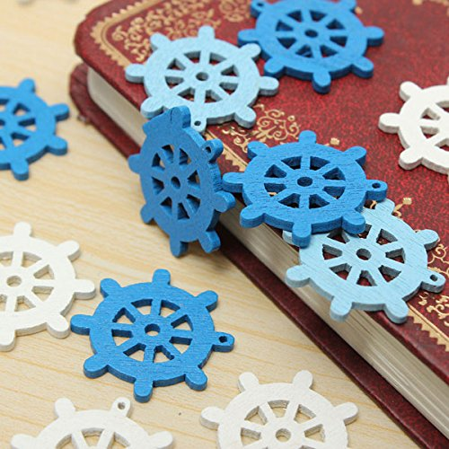 50pcs Wooden Mini Sea Boat Rudder Pendant Scrapbooking Home Decorations Handcraft - Shops In Mall Florida