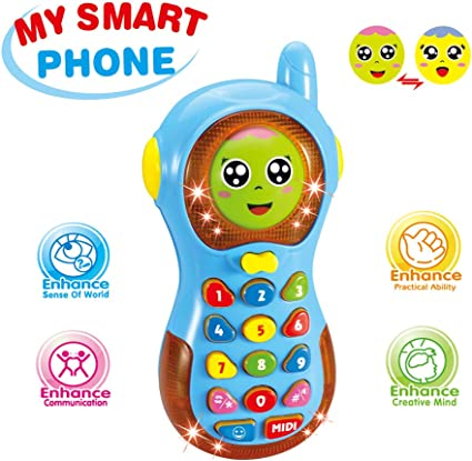 Early Education 6 Month Year Olds Baby Toy Tiny Touch Phone Musical Sound Telephone Toys for Children /& Kids Boys and Girls by EastSun