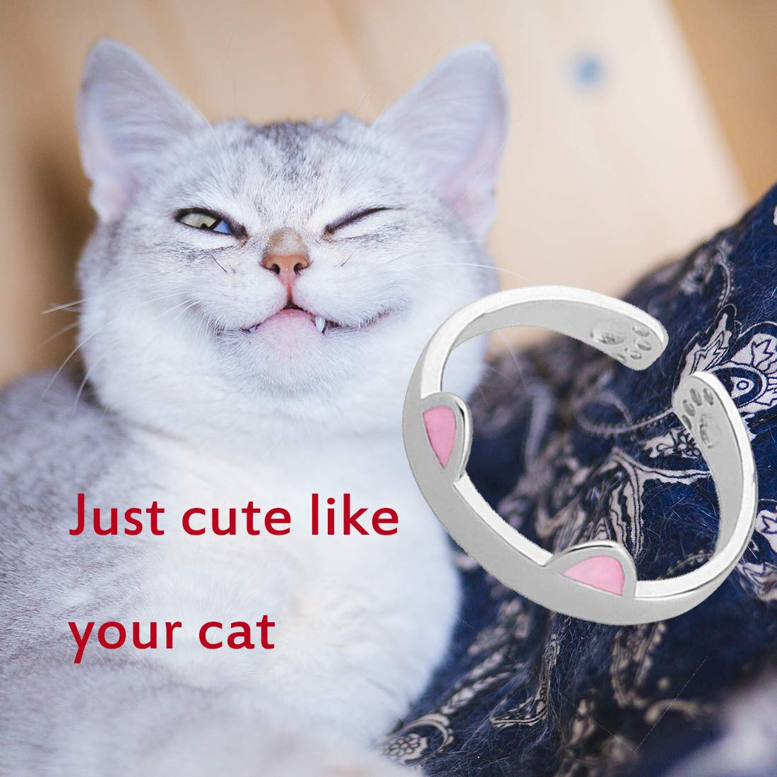 Zuo Bao Cute Cat Ring Adjustable Ring Pink Cat Ears Ring Funny Cat Jewelry Gift for Her Cat Hoop Ring Kitty Mini-Hoop Feline Lovers Gift Funny Birthday Gift cat-Ring