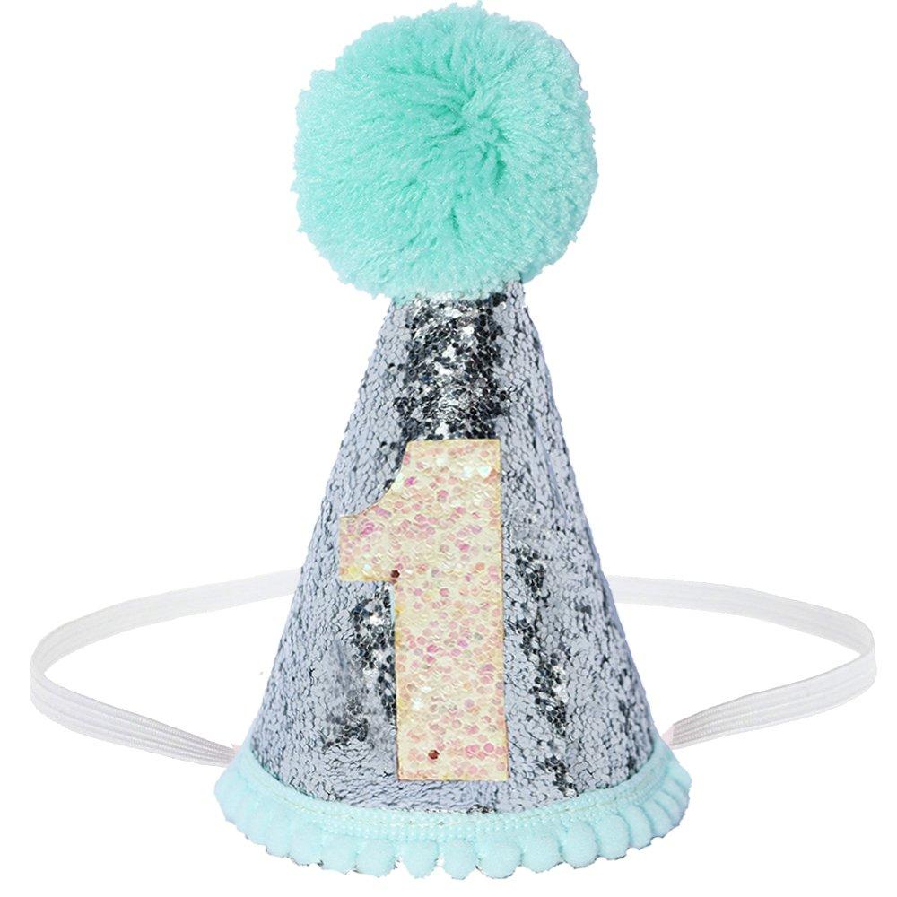 Petsidea Glitter Dog First Birthday Cone Hat Mini Doggy Cat Kitty Birthday Party Hats (Mint Silver)