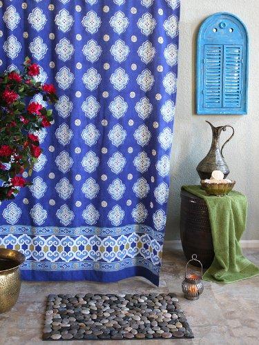 Casablanca Blues ~ Moroccan Style Quatrefoil Print Shower Curtain 72x72