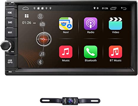 hizpo Double 2 Din Android 9.0 Car Stereo Radio GPS Navigation Support 4G WiFi Bluetooth Mirrorlink with Rear Camera