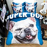 Amazing Cute Dog Puppy Cotton Microfiber 3pc 90''x90'' Bedding Quilt Duvet Cover Sets 2 Pillow Cases Queen Size