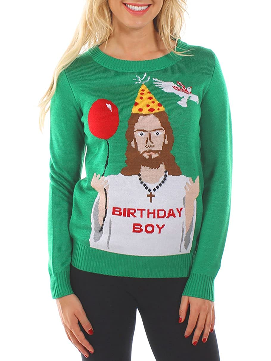 Tipsy Elves Womens Ugly Christmas Sweater - Happy Birthday Jesus ...