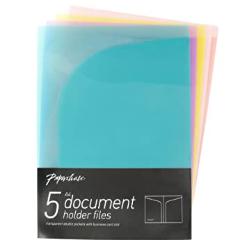 Paperchase double pocket files pack of 5 amazon office paperchase double pocket files pack of 5 reheart Images