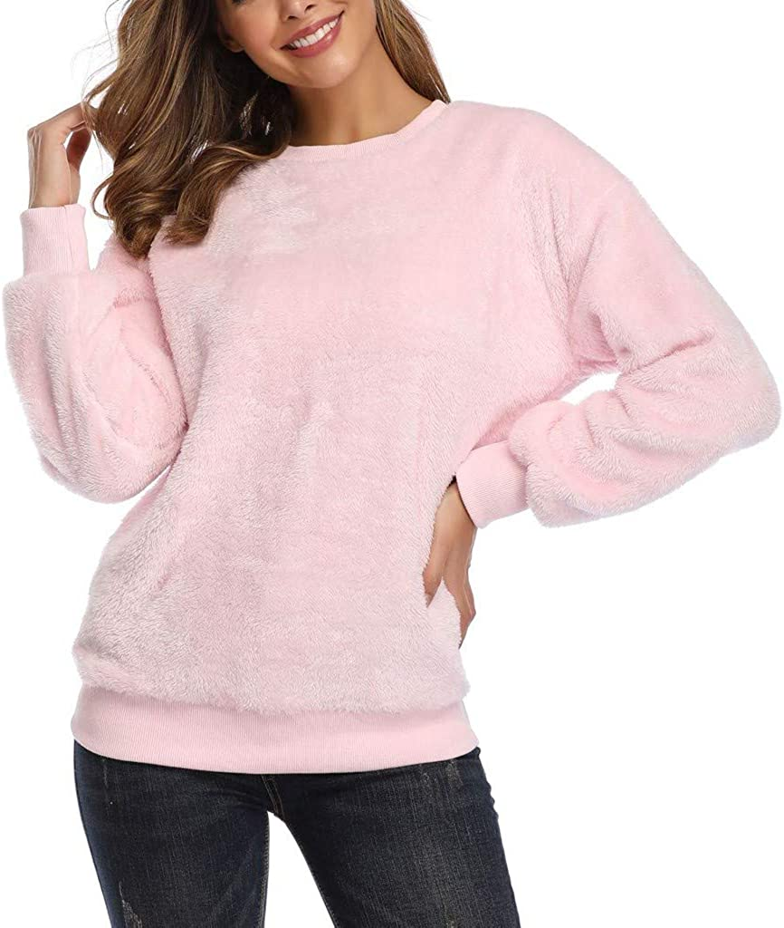 OSTELY Cute Sweater for Women Plush Imitation Lambskin Round Neck Pink Long Sleeve Pullover Tops Blouse