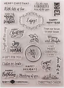 AIUIN Sellos Scrapbooking Clear Stamp Saludos Festivos Sello Transparente Hoja De Sello De Silicona para álbum De Tarjetas De Arte De Scrapbook DIY álbum: Amazon.es: Juguetes y juegos