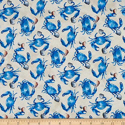 (Northcott Atlantic Shore Blue Crab Cream, Fabric by the Yard)