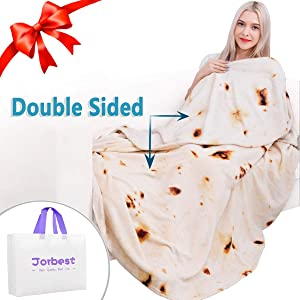 Jorbest Burritos Tortilla Blanket 2.0 Double Sided for Adult and Kids, Comfort Throw Blanket, Novelty Round Food Blanket for Everyone - Diameter 80 inches, Yellow Blanket-Double Sided a