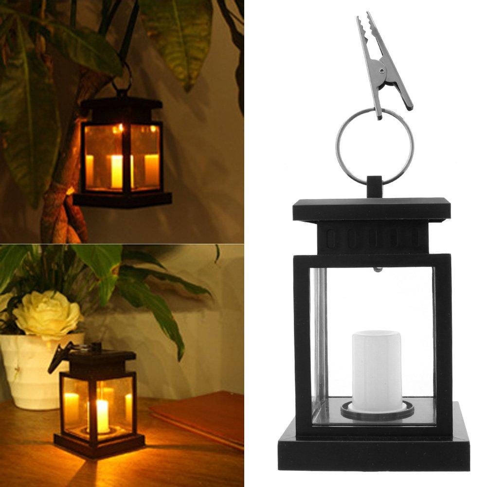 SCASTOE Outdoor Waterproof LED Hanging Umbrella Lantern Light Solar Garden Wall Candle Lamp