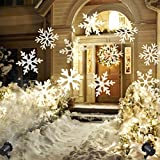 GreenClick Christmas Projector Light LED Snowflakes Waterproof White Lamp Sparkling Landscape for Outdoor Decor Stage Irradiation Holiday Home Decoration Wall Motion Decoration lighting