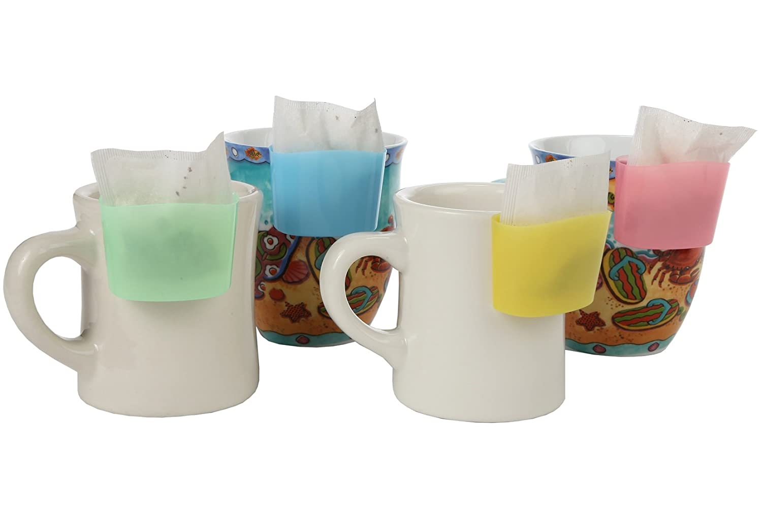 Home-X - Hanging Tea Bag Holder Set, Plastic Tea Bag Caddy Clips onto Mug (Not Provided) to Prevent Messes or Dripping After Steeping, Set of 4 SH971