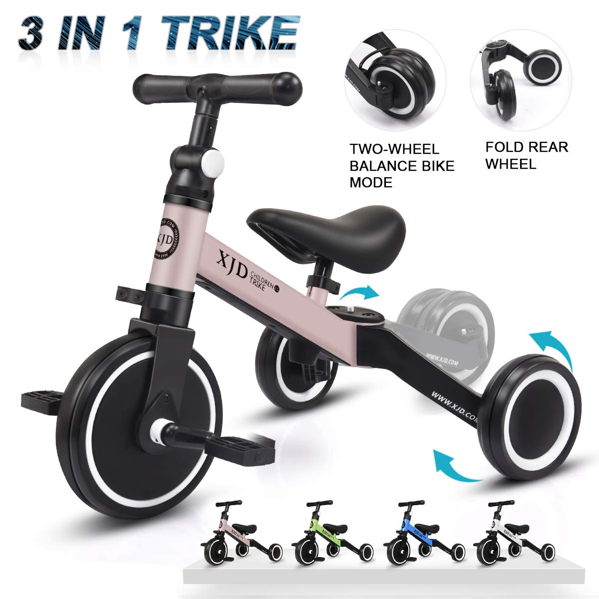 XJD 3 in 1 Kids Tricycles for 1-3 Years Old Kids Trike 3 Wheel Toddler Bike Boys Girls Trikes for Toddler Tricycles Baby Bike Trike Upgrade 2.0