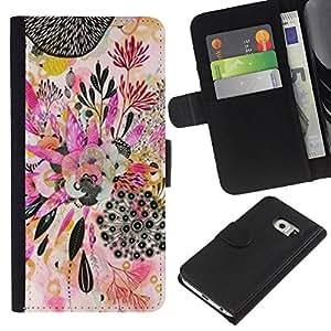 Planta de Arte Dibujo Abstracto- la tarjeta de Crédito Slots PU Funda de cuero Monedero caso cubierta de piel Para Samsung Galaxy S6 EDGE (NOT S6)