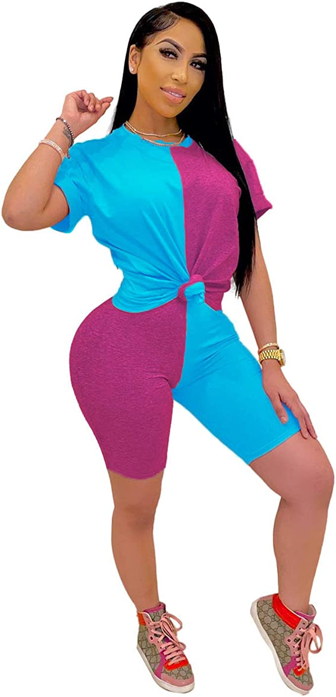 Tie Dye Sets for Women 2 Piece Outfits Rompers Jumpsuits T-Shirt and Bodycon Shorts Sweatsuit Set