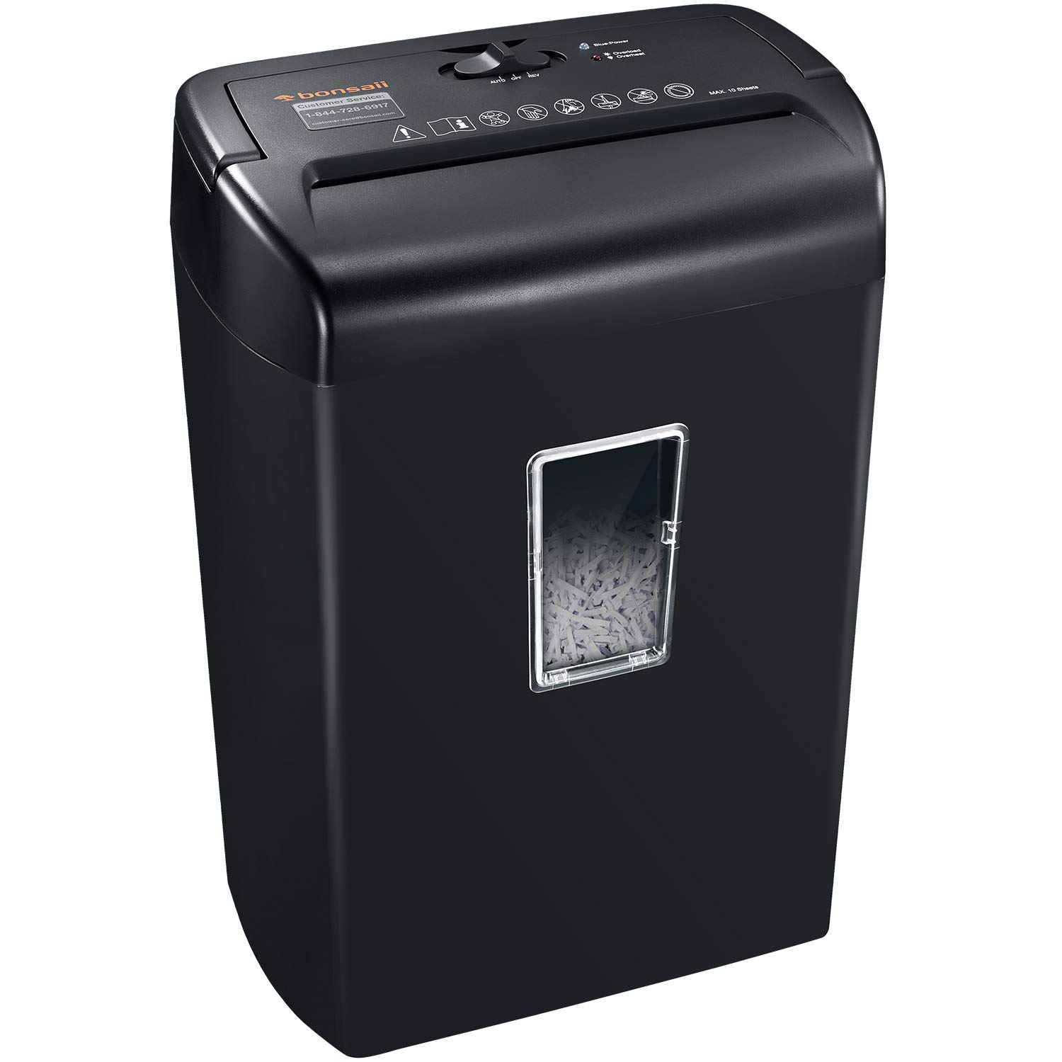 Bonsaii 10-Sheets Cross-Cut Paper and Credit Card Shredder with 5.5 Gallons Wastebasket Capacity and Transparent Window, Black (C209-D) by bonsaii