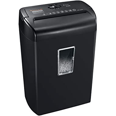 Bonsaii 10-Sheets Cross-Cut Paper and Credit Card Shredder with 5.5 Gallons Wastebasket Capacity and Transparent Window, Black (C209-D)